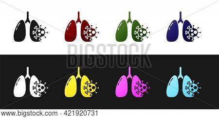 Set Virus Cells In Lung Icon Isolated On Black And White Background. Infected Lungs. Coronavirus, Co