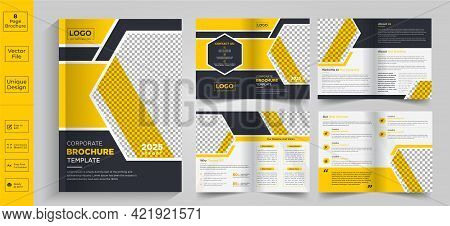New Minimal Yellow Multipage Business Brochure Template Layout Design, Yellow Business Brochure Temp