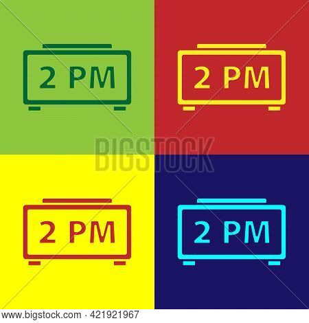 Pop Art Digital Alarm Clock Icon Isolated On Color Background. Electronic Watch Alarm Clock. Time Ic