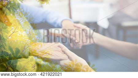 Composition of midsection of senior caucasian woman holding hands with young woman with tree overlay. retirement and senior lifestyle concept digitally generated image.