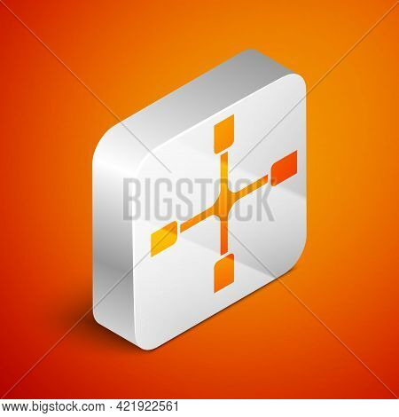 Isometric Wheel Wrench Icon Isolated On Orange Background. Wheel Brace. Silver Square Button. Vector