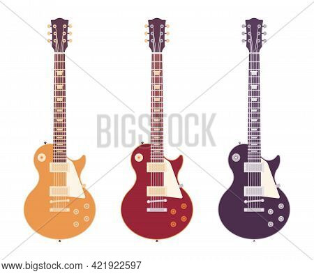 Electric Guitar Set, Musical Instrument Jazz, Pop, Rock, Country Music. Metal Band Or Solo Blues Per