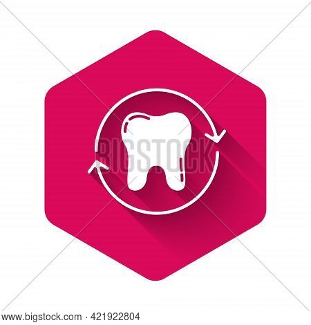 White Tooth Whitening Concept Icon Isolated With Long Shadow. Tooth Symbol For Dentistry Clinic Or D