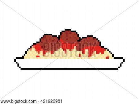 Pasta With Meatballs Pixel Art 8 Bit. Food Pixelated Vector Illustration