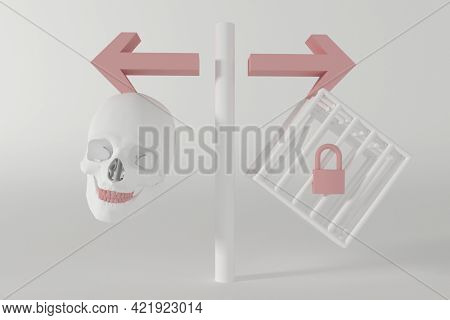 The choice between the death penalty and imprisonment. A sign pointing to the skull as a symbol of death and the cage as a prison, 3d illustration
