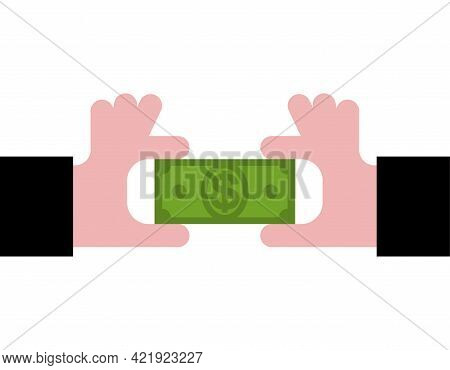 Two Hands Are Sharing Money. Profit Sharing