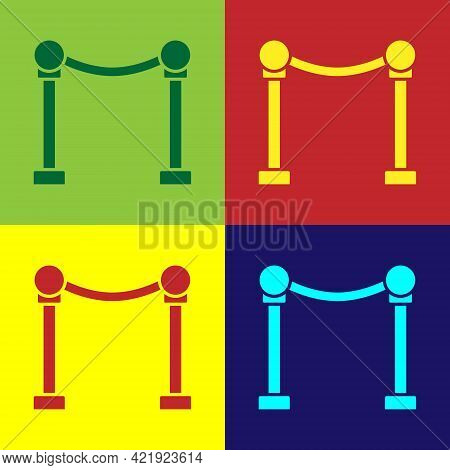 Pop Art Rope Barrier Icon Isolated On Color Background. Vip Event, Luxury Celebration. Celebrity Par