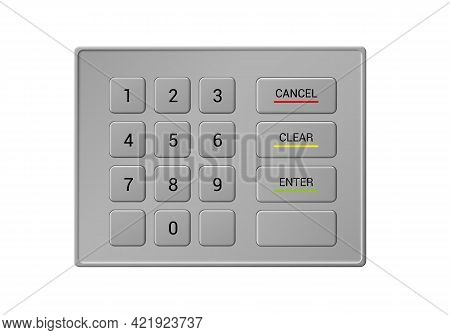 Illustration Of A Metal Atm Keyboard With Numbers And Buttons. For Safe Cash Withdrawal - Vector