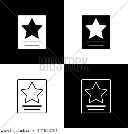 Set Hollywood Walk Of Fame Star On Celebrity Boulevard Icon Isolated On Black And White Background.