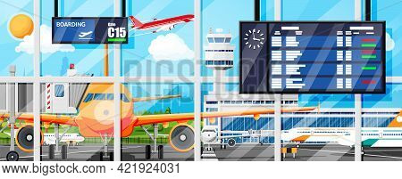 Plane Before Takeoff. Airport Control Tower, Jetway, Terminal Building And Parking Area. Internation