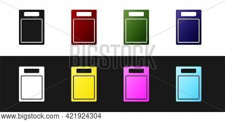 Set Cutting Board Icon Isolated On Black And White Background. Chopping Board Symbol. Vector