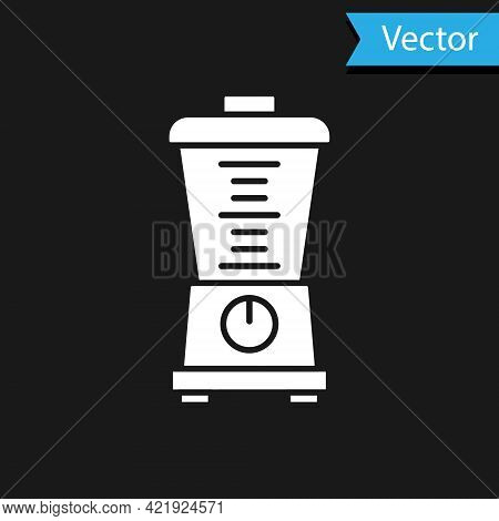 White Blender Icon Isolated On Black Background. Kitchen Electric Stationary Blender With Bowl. Cook