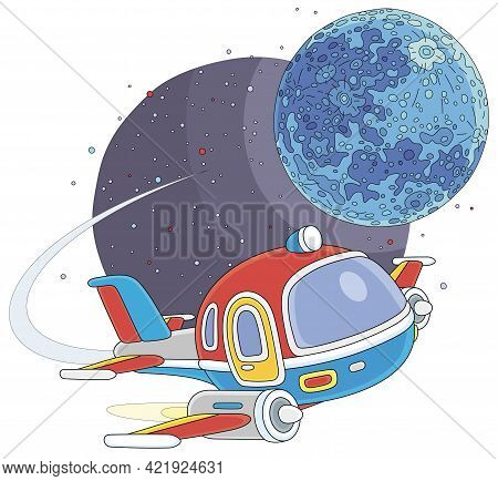 Toy Spaceship Flying Around A Small Planet In Space Flight, Vector Cartoon Illustration On A White B