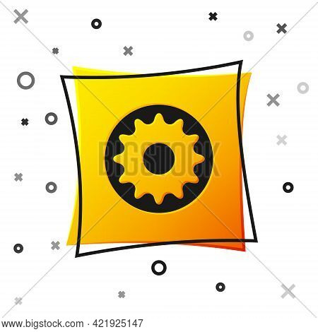 Black Chakra Icon Isolated On White Background. Yellow Square Button. Vector
