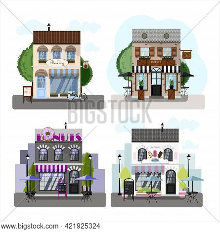 A Set Of Vector Stores, Restaurants And Cafes. Two-story Donuts Cafe, Coffee House, Ice-cream Cafe A