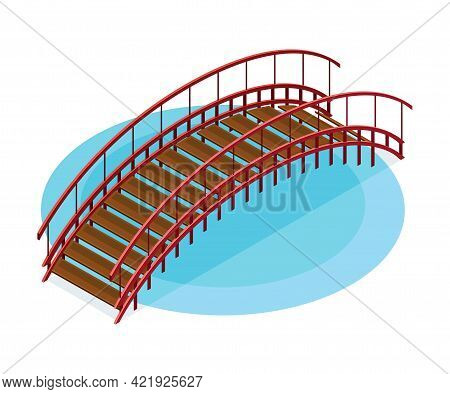 Wooden Bridge With Balustrade Railing As Asian Architecture Isometric Vector Illustration