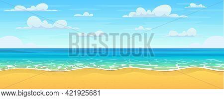 Cartoon Summer Beach. Paradise Nature Vacation, Ocean Or Sea Seashore. Sea Beach Landscape. Cartoon
