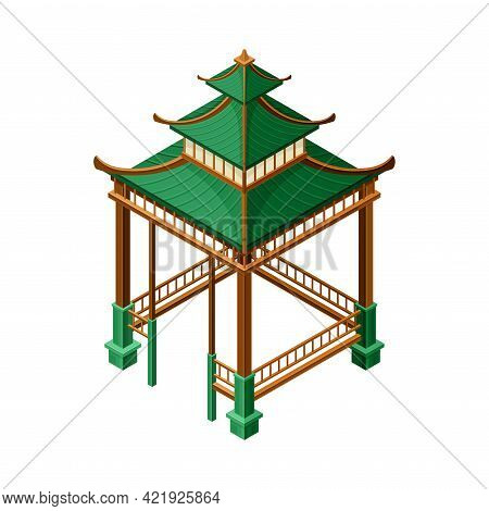 Green Wooden Gazebo In Oriental Style As Asian Architecture Isometric Vector Illustration