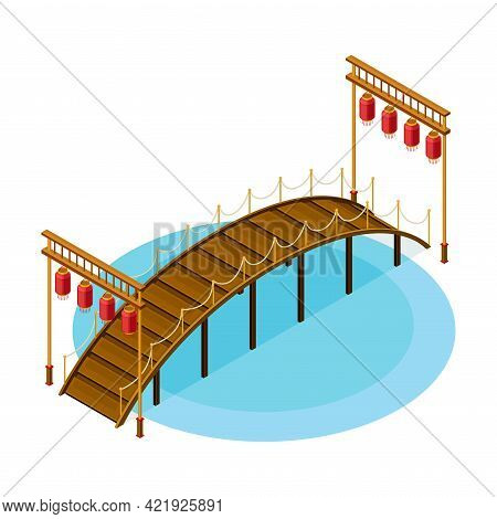 Wooden Bridge With Balustrade Railing And Hanging Paper Lanters As Asian Architecture Isometric Vect