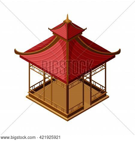 Red Wooden Gazebo In Oriental Style As Asian Architecture Isometric Vector Illustration