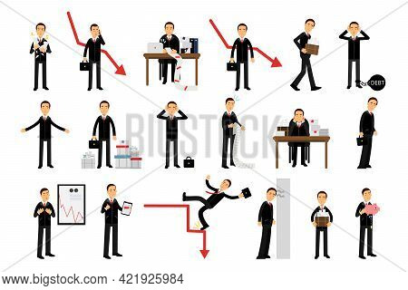 Young Businessman Bankrupt Depressed Because Of Economic Downfall And Regression Vector Illustration