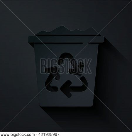 Paper Cut Recycle Bin With Recycle Symbol Icon Isolated On Black Background. Trash Can Icon. Garbage