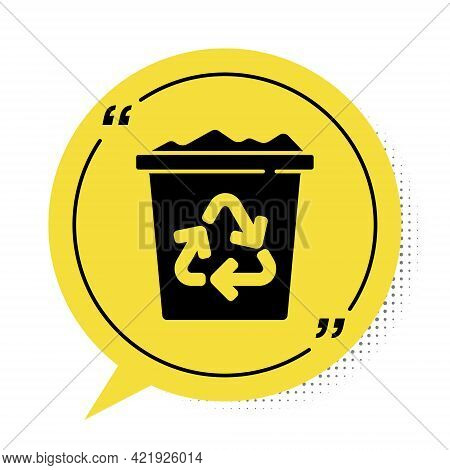 Black Recycle Bin With Recycle Symbol Icon Isolated On White Background. Trash Can Icon. Garbage Bin