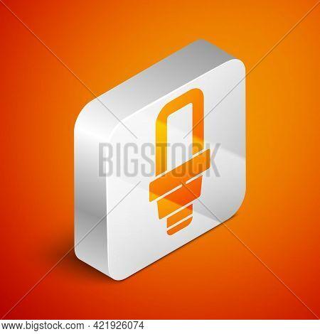 Isometric Led Light Bulb Icon Isolated On Orange Background. Economical Led Illuminated Lightbulb. S
