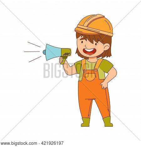 Little Girl Builder Wearing Hard Hat And Overall Shouting In Bullhorn Vector Illustration