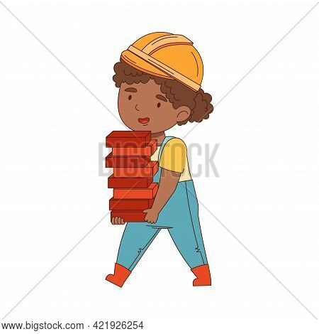 Little Girl Builder Wearing Hard Hat And Overall Carrying Stack Of Bricks Vector Illustration