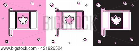 Set Flag Of Canada Icon Isolated On Pink And White, Black Background. North America Country Flag On