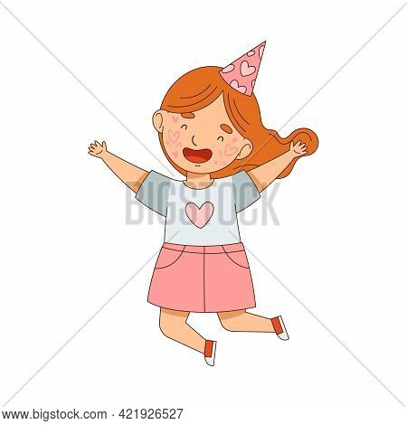 Girl Character With Red Hair In Birthday Hat And With Face Painting Jumping With Joy Vector Illustra