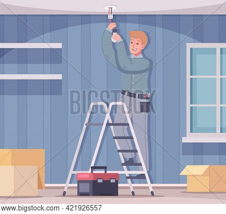Electrician Cartoon Composition With Home Living Room Scenery And Handyman Standing On Ladder Changi