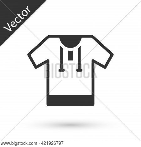 Grey Embroidered Shirt Icon Isolated On White Background. National Ukrainian Clothing. Vector