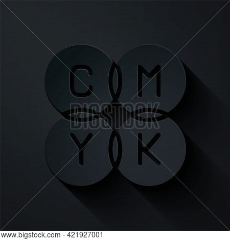 Paper Cut Cmyk Color Mixing Icon Isolated On Black Background. Paper Art Style. Vector