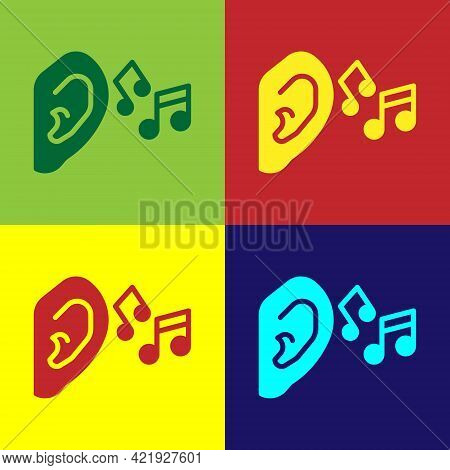 Pop Art Ear Listen Sound Signal Icon Isolated On Color Background. Ear Hearing. Vector