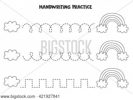 Tracing Lines For Kids With Black And White Cloud And Rainbow. Handwriting Practice For Children.