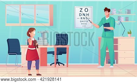 A Girl In An Ophthalmologists Office Conducts An Eye Examination Flat Vector Illustration