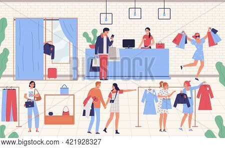 Men And Women Choosing And Buying Garments At Clothing Store Flat Vector Illustration
