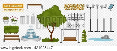Park Elements Set On Transparent Background With Isolated Icons Of Lamp Posts Flower Beds And Benche