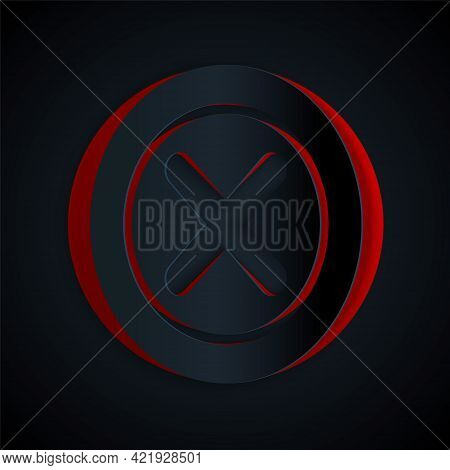 Paper Cut X Mark, Cross In Circle Icon Isolated On Black Background. Check Cross Mark Icon. Paper Ar