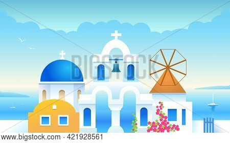 Santorini. Greece. Greek Architecture Buildings With The Aegean Sea. Traditional Greek White Houses