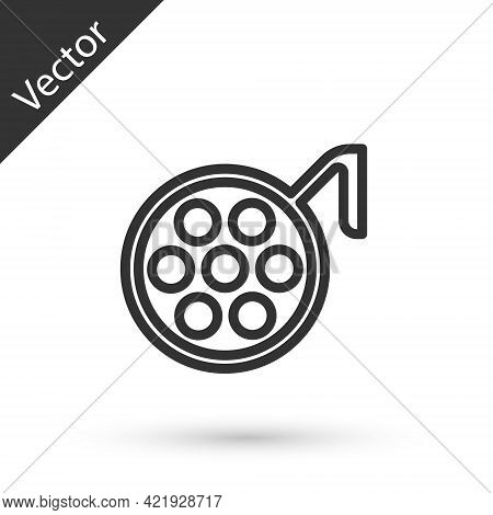 Grey Line Surgery Lamp Icon Isolated On White Background. Vector Illustration