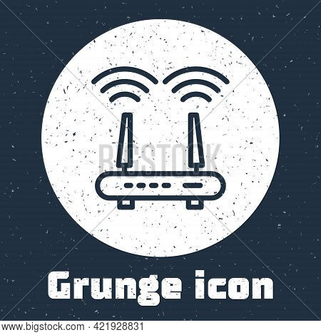 Grunge Line Router And Wi-fi Signal Icon Isolated On Grey Background. Wireless Ethernet Modem Router