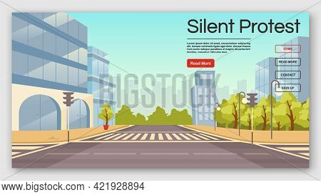 Silent Protest Landing Page Vector Template. Democracy Manifestation Website Interface Idea With Fla