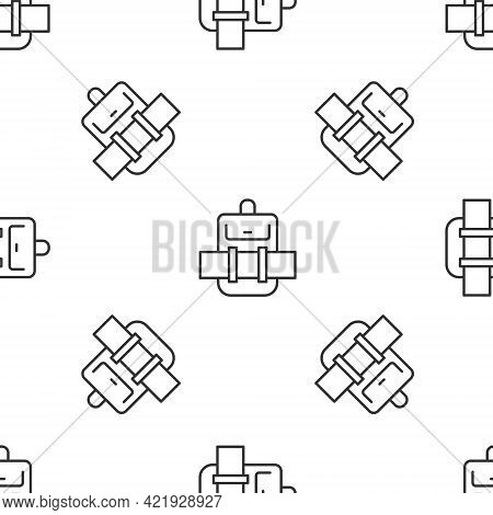 Grey Line Hiking Backpack Icon Isolated Seamless Pattern On White Background. Camping And Mountain E