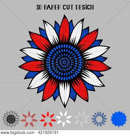 4th Of July 3d Sunflower With Usa Flag.mandala Ornament.vector Patriotic Symbol. Layered Sunflower P