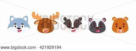 Cute Little Woodland Animals Heads Set. Collection Funny Animals Characters For Kids Cards, Baby Sho