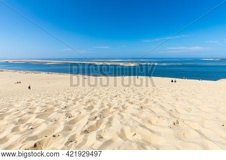 Dune Of Pilat, France - September 10,2018: View From The Dune Of Pilat, The Tallest Sand Dune In Eur