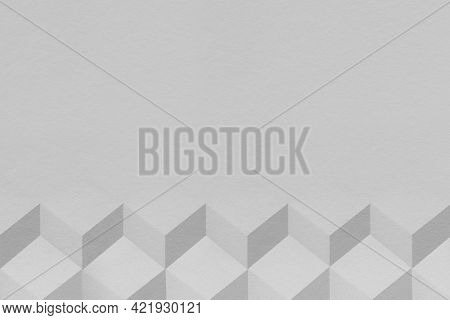 3D gray paper craft cubic patterned background